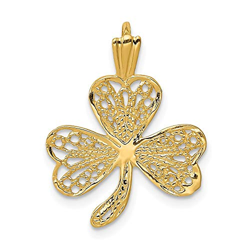 14k Yellow Gold Filigree Shamrock Pendant Charm Necklace Good Luck Italian Horn Celtic Claddagh Fine Jewelry For Women Gifts For Her