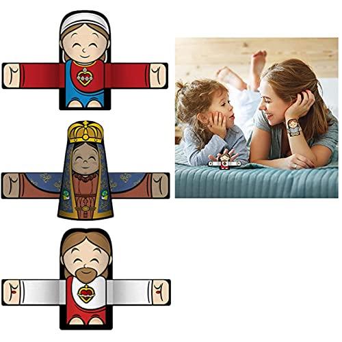 ZDDO Abrazando ángel de Pulseras, Lindo Personaje de Dibujos Animados, Anillo de Mano para niños y niñas, Regalo de Fiesta de cumpleaños 3pcs D