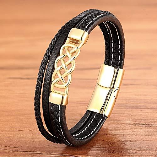URNOFHW Encantos de Moda de Oro de la Manera de Tejido Cuerda Trenzada del Punk Rock de Lujo Hombres Pulsera Negro brazaletes magnéticos joyería (Color : BXG6365, Size : 21.5cm)