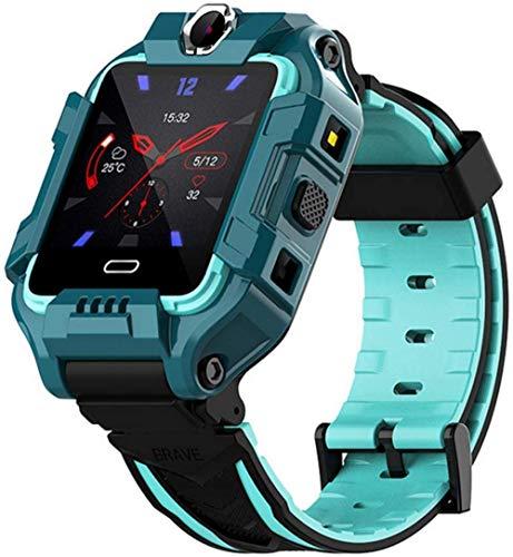 TYUI Reloj inteligente para niños pulsera inteligente 4G LTE SIM posición GPS girar cámaras duales videollamada IP68 impermeable niños niño niña smartwatch actividad fitness-verde