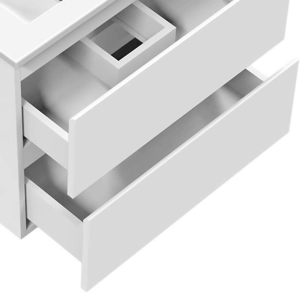 AICA sanitaire Meuble sous Vasque De Salle De Bain Suspendu Anthracite avec Lavabo et 2 tiroirs Espace De Rangement 60cm