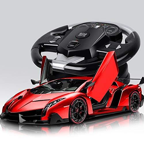 HHtoy Wiederaufladbare 1:10 2,4 GHz RC Auto Lenkrad Fernbedienung Fahrzeug Funk Stunt Driften Autos Öffnen Sie Die Tür Kinder Mädchen Spielzeug 37 * 16 * 10 cm (Color : Rot)