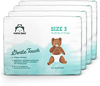 Amazon Brand - Mama Bear Gentle Touch Diapers, Size 3, Assorted Print, 168 Count (4 packs of 42)