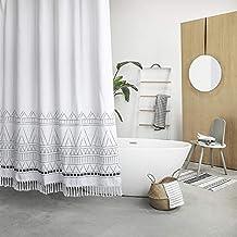YoKii Tassel Fabric Shower Curtain, Black Grey White Boho Striped Chevron Polyester Bath Curtain Set with Hooks, Decorativ...
