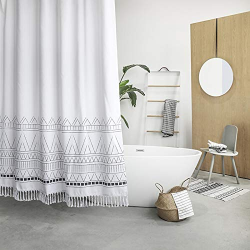YoKii Tassel Fabric Shower Curtain, Black White Geometric Boho Striped Nordic Chic Polyester Bath Curtain Set with Hooks, Decorative Heavy Weighted 72-Inch Bathroom Curtains, (72 x 72, White)