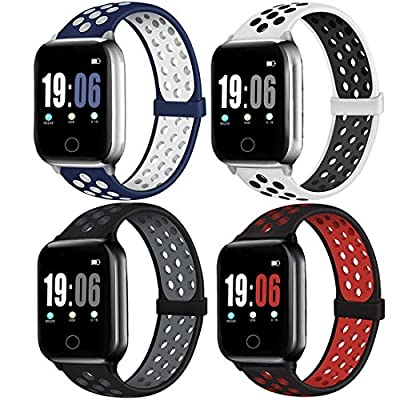 ElaikementSport Band Compatible with Watch Bands 42mm 44mm Women Men, Breathable Sporty Replacement Wrist Strap Compatible for Watch Series SE/6/5/4/3/2/1, 42/44mm S/M -4PACK