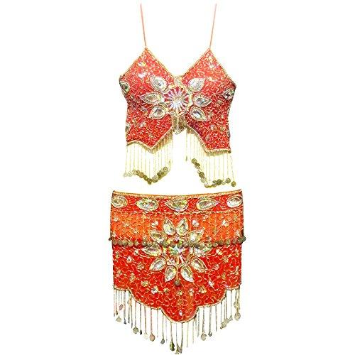 indischerbasar.de Set costume danza del ventre rosso e argento con applicate medagliette e paillettes accessori abbigliamento