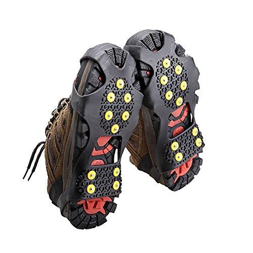 Rutschfeste Überschuhe mit Gummi-Spikes zum Laufen auf rutschigen Böden wie Eis und Schnee, mit 10 Stahl-Spikes, Large
