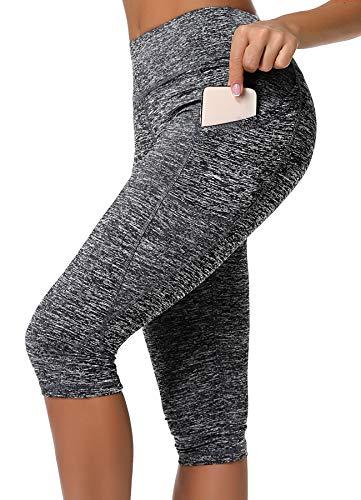 INSTINNCT Damen Doppeltaschen Sport Leggings 3/4 Yogahose Sporthose Laufhose Training Tights mit Handytasche Capris(normal) - Grau XL