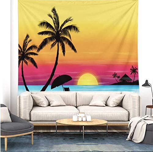 Bord de mer Noix de coco Tapisserie Tenture Murale Charme Nature Paysage Bohême Tapisserie murale Macramé Décor À La Maison Tenture Murale Tissu 150 * 200 Cm