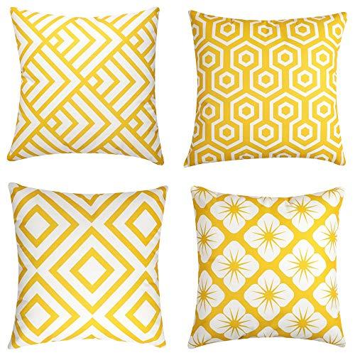 Tidwiace, federa quadrata per cuscino in stile moderno, semplice e geometrico, 40 x 40 cm, per divano e divano letto, 4 pezzi, colore: giallo