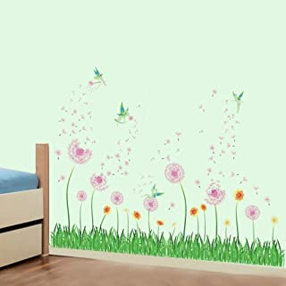 decalmile Pink Dandelion Grass Fairy Wall Corner Decals Baseboard Skirting Line Wall Stickers Living Room Bedroom Wall Art Decor