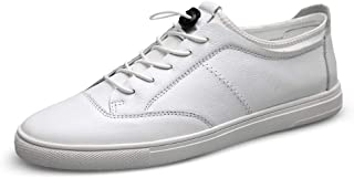 XUJW-Shoes, Fashion Skate Sneakers for Men Skateboard Flat Walking White Shoes Lace up Genuine Leather Low Top Antislip Durable Comfortable Walking Shopping (Color : White, Size : 7 UK)