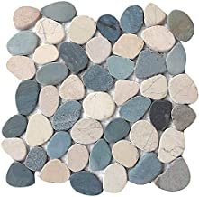 FuStone Decorative Tiles Interlocking Tumbled Pebble Tiles (1-Sheet) Kitchen Floor Bathroom Patio Stone Tile for Indoor and Outdoor Use Natural River Rock Stones SA-CP005-1