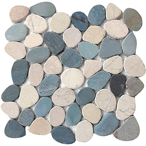 FuStone Decorative Tiles Interlocking Tumbled Pebble Tiles (10-Sheets) Kitchen Floor Bathroom Patio Stone Tile for Indoor and Outdoor Use Natural River Rock Stones SA-CP005-10
