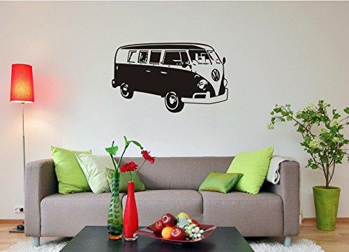 blattwerk-design VW Bulli, Wandaufkleber, Volkswagen (M070 Schwarz, 450 mm x 270 mm)