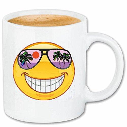 Reifen-Markt Kaffeetasse Smiley IM Urlaub AUF Hawaii MIT Sonnenbrille Smileys Smilies Android iPhone Emoticons IOS GRINSE Gesicht Emoticon APP Keramik 330 ml in W