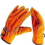 耐熱 手袋 革 アウトドア 耐熱グローブ キャンプ BBQ 皮 防寒手袋 bbq ストーブ 焚き火台 溶接 薪ストーブ 軍手 裏付き オレンジ