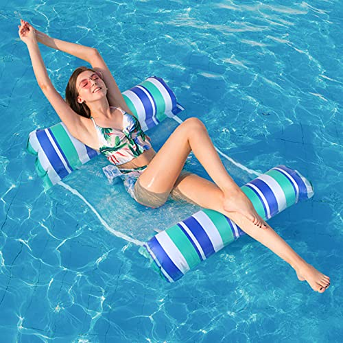 solawill Aufblasbare Wasserhängematte, 4 in 1 Ultrabequeme Aufblasbares Schwimmbett Loungesessel Luftmatratze Schwimmende Luftmatratze Pool Tragbar Schwimmmatratze Für Erwachsene und Kinder (Blue)