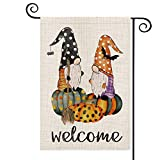 AVOIN Halloween Welcome Polka Dot Gnome Pumpkin Garden Flag Vertical Double Sized, Broom Spider Web Bat Yard Outdoor Decoration 12.5 x 18 Inch