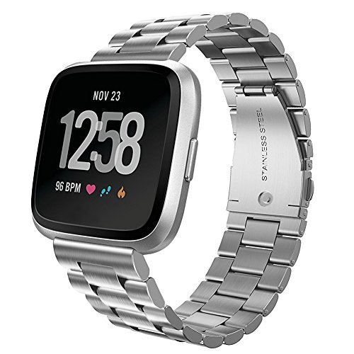 Kmasic Compatible with Fitbit Versa Bands, Stainless Steel Metal Replacement Bracelet Strap Band for Fitbit Versa Sports Smart Watch Fitness (Silver)