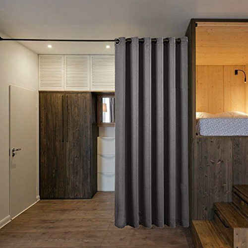 NICETOWN Room Divider Curtain Screen Partitions, Premium Heavyweight Blackout Curtain Panel with Grommet Top for Shelves (1 Panel, 10ft Wide x 8ft Long, Grey)