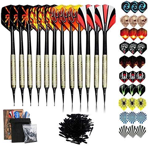 Sinwind Soft Darts Set, 12 Pcs Soft Tip Darts, 42 Flights and 100 Soft...