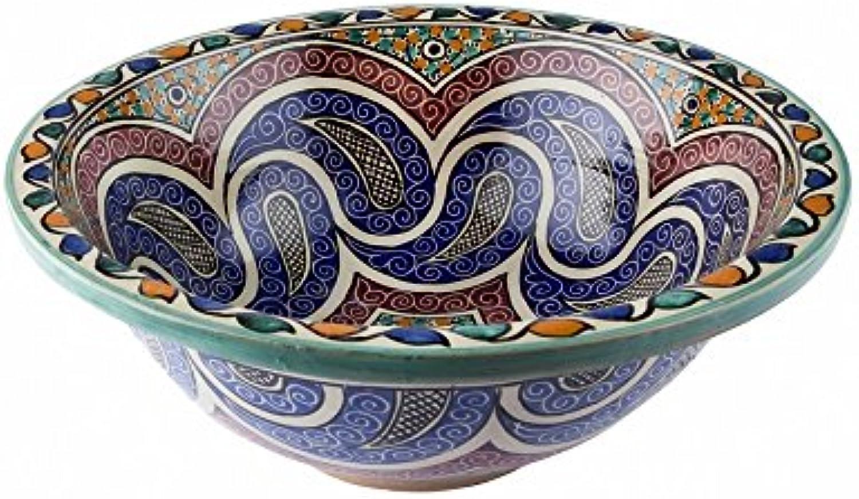 Orientalisches handbemaltes Keramik Waschbecken - Midelt - Gemalt theraus Di 40 H 16 cm