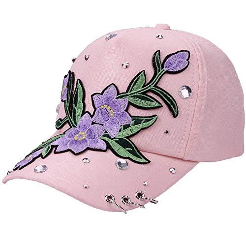 CHEMOXING Sombrero De Primavera Y Verano Bordado Femenino Flor Diamante Gorra De Béisbol Anillo De Hierro Moda Gorra De Deportes Al Aire Libre