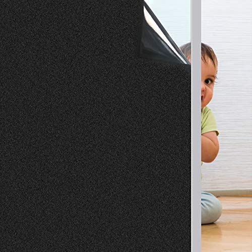 Coavas Blackout Window Film No Glue 100% Light Blocking for Day Sleep, Privacy Static Cling for Home Security and Aquarium, Frosted Black 17.7 x 78.7 Inches
