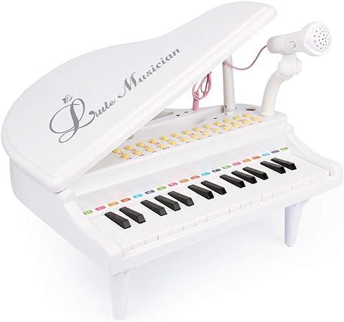 LINGLING-Tastatur Kinder-Tastatur Klavier Mikrofon Multifunktions-Klavier (Farbe   Weiß)