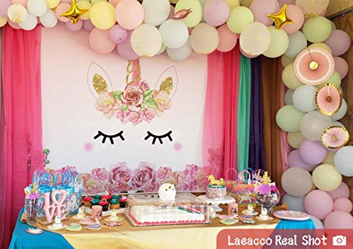 Laeacco 5x3ft Photography Background Unicorn Birthday Party Photo Backdrop Background Watercolor Flowers Roses Cute Stars Smiling Face Baby Shower Unicorn Head Sweet Pink Girls Newborn Portraits