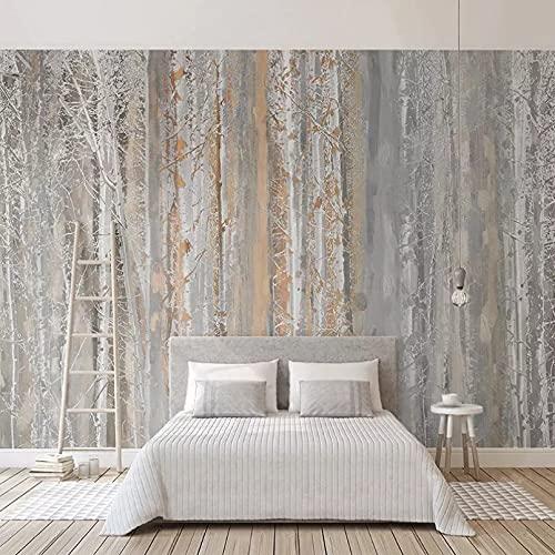 Papel tapiz fotográfico personalizado arte abstracto pintura al óleo bosque árbol estilo nórdico sala de estar sofá TV fondo pared mural papel tapiz 400x280cm