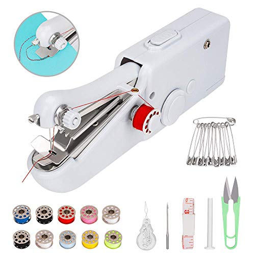 Coquimbo Handheld Sewing Machine with Sewing Basic Accessories, Mini Electric Sewing Machine Quick Handy Stitch for Home and Travel Use