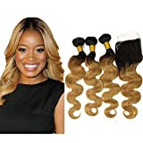 Mila 3pc Ombre Blonde 1B/27# Tressen Reine Haarverlängerungen mit Lace Closure Gewellt Body Wave Human Hair Bundles Brazilian Virgin Hair Weave Extensions (12'12'12'+10'closure)