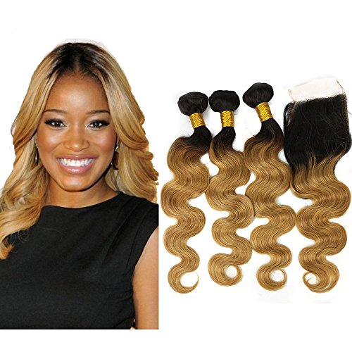 """Mila Tissage Ombre Hair avec Closure Blond 1B/27# Ondules Body Wave Tie and Dye Bresilien Naturel 100% Remy Humain Cheveux Extensions (24""""24""""24""""+18""""closure)"""