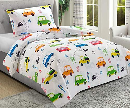 Utopia Bedding Set Di Biancheria Da Letto Per Bambini - 100% Microfibra - Auto Set Copripiumino Stampa (Copripiumino Letto Singolo 135 x 200 cm + 1 federa 50 x 75 cm) - (Bianco, Auto)