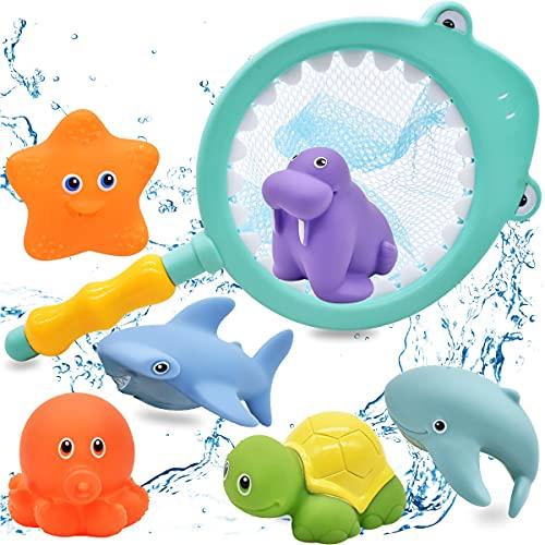 Miotlsy 7 Piezas Juguetes De Baño,Juguetes de Baño Flotantes para Bebés, Juguetes para Bebés, para Bebé Niños Agua Piscina Baño Playa Regalo Bueno de Cumpleaños Navidad