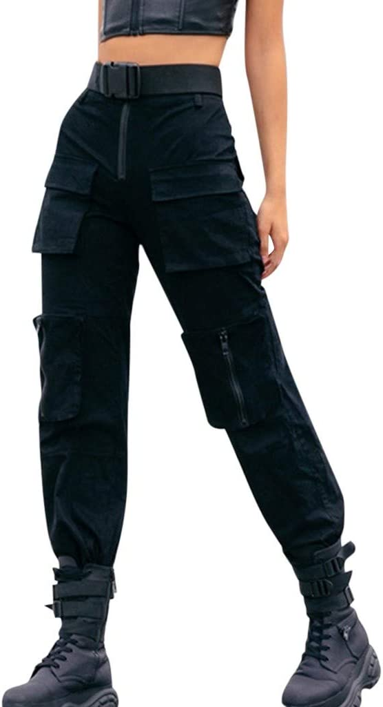 MarryLee Fashion Cool Black Overalls Trousers for Women Teen Girls Street Style Casual Daily All-Match Pants with Multi Pockets (Black, M)