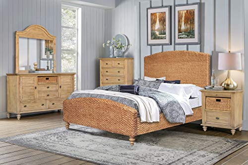 Amazing Deal Cottage Creek Hampton Hand-Woven Queen 5 Piece Solid Wood Bedroom Set in Sandstone | Fully Assembled