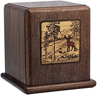 Silverlight Urns in The Woods Scene Wood Cremation Urn, Adult Mahogany Urn for Ashes