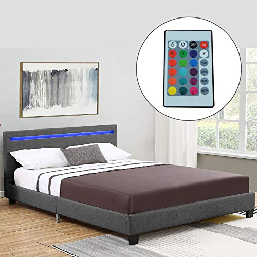 ArtLife Polsterbett Verona 120 × 200 cm grau/anthrazit | Bettrahmen inkl. LED-Beleuchtung, Webstoff & Lattenrost | Einzelbett Stoff Gästebett Bett