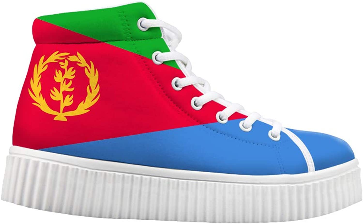 Owaheson Platform Lace up Sneaker Casual Chunky Walking shoes High Top Women Eritrea Flag