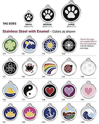 K9 Palace Red Dingo Stainless Steel with Enamel Pet I.D. Tag (Large)