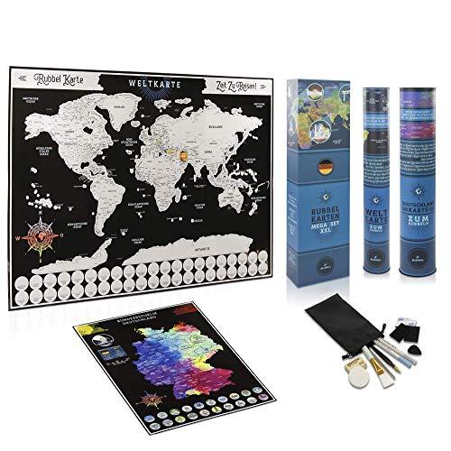 AVERSAL´S Rubbelkarten Mega Set XXL - Karten komplett magnetisch und auf Deutsch - Weltkarte (76x54 cm) + Deutschlandkarte (38x54 cm) inkl. Zubehör und Geschenkverpackung