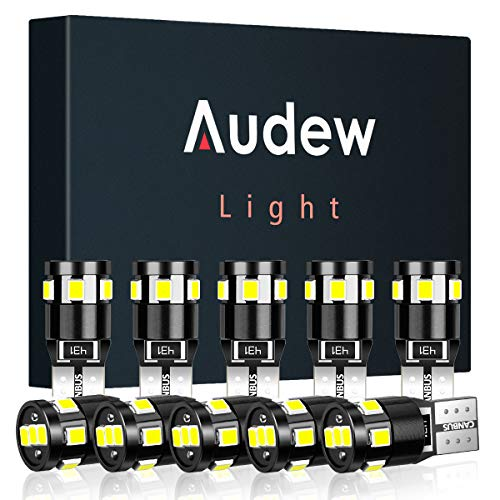Audew T10 W5W LED CANBUS Bombillas 2835SMD LED 12V 4882K - Wedge Lampara para Coches de Interior y Exterior Xenón - 10 Pack Luces LED Coche (Blanco)