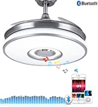 Fandian 42in Modern Smart Ceiling Fan with Lights Bluetooth Speaker Chandelier Lighting Fixtures, Remote Control, Retractable Blades, 3 Light Colors, for Living room, Bedroom (42in-Siver 2)