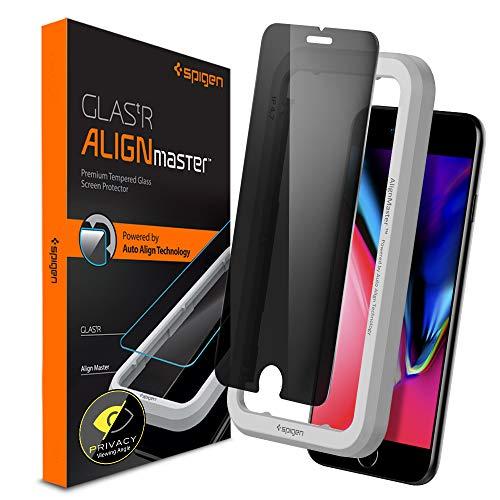 Spigen, Privacy Vetro Temperato iPhone 8 / iPhone 7 / 6S, AlignMaster, Installazione Semplice con Cornice di Allineamento, Anti-Spy iPhone 8/7/6S (AGL01079)