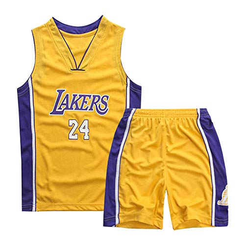 Mimiga Tuta Sportiva per Divisa da Basket No. 24 Kobe Bryant Ricamata da Basket per Bambini (S, Giallo)