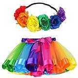 MY-PRETTYGS Layered Tulle Ballet Rainbow Tutu Skirt with Flower Crown Wreath Headband (Big Flower-Rainbow, L,4-8T)